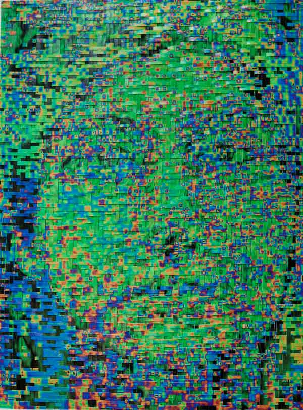 HH53T-HHM114B, 2008, Hand-woven digital prints on paper