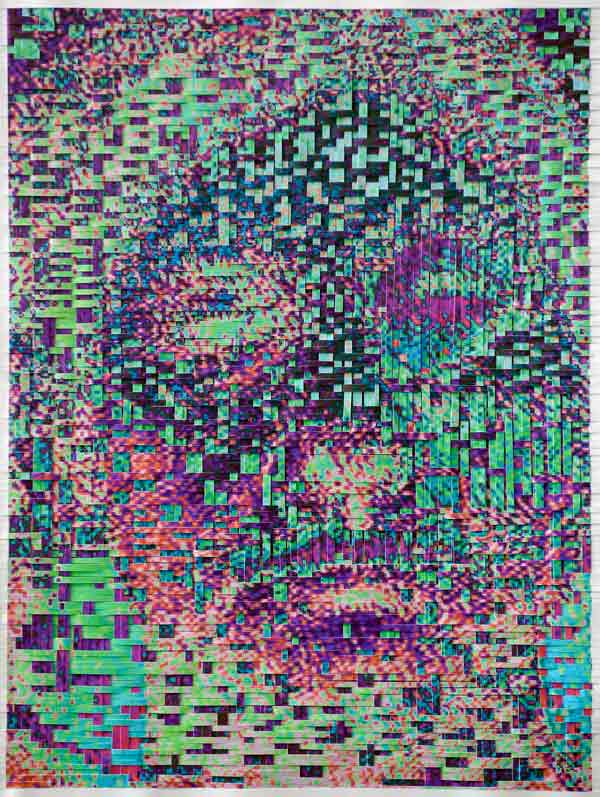 HH66-5T-HH66-3B, 2003, Hand-woven digital prints on paper