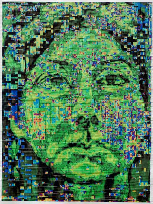 HHM114T-HH53-18B, 2003, Hand-woven digital prints on paper