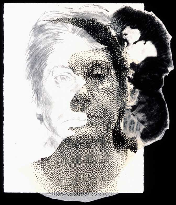 Migraine #2, 2000, Charcoal and graphite on paper with silkscreen print collage