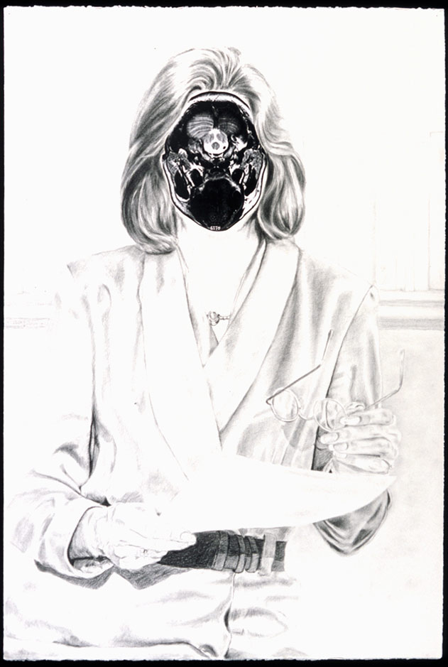 Migraine #3, 2000, Graphite on paper with photograph collage