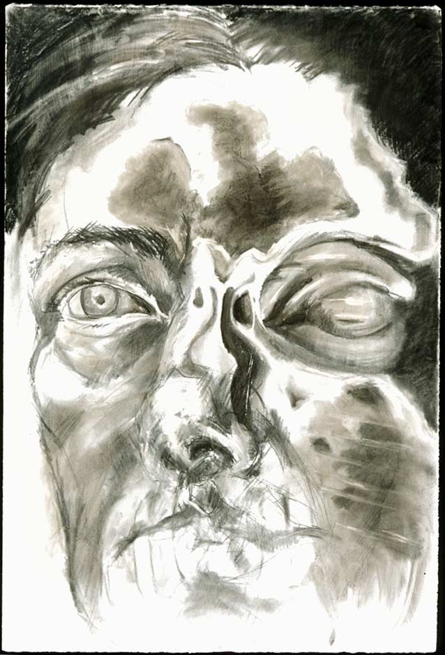Migraine #5, 2000, Charcoal on Paper