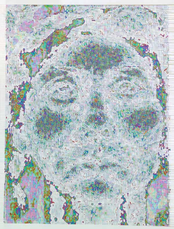 HH-M63-M63, 2005, Hand-woven digital prints on paper